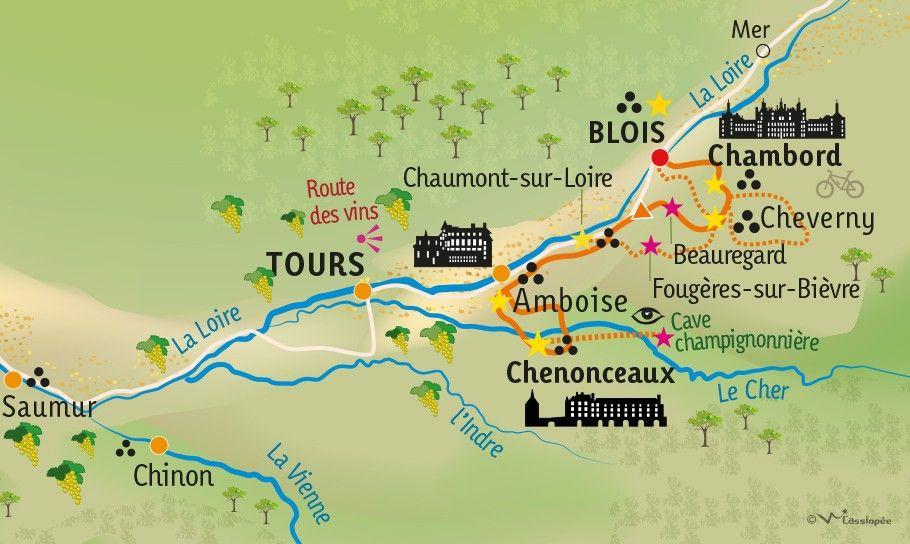 [KEY_MAP] - FRANCE - Les châteaux de la Loire à bicyclette...