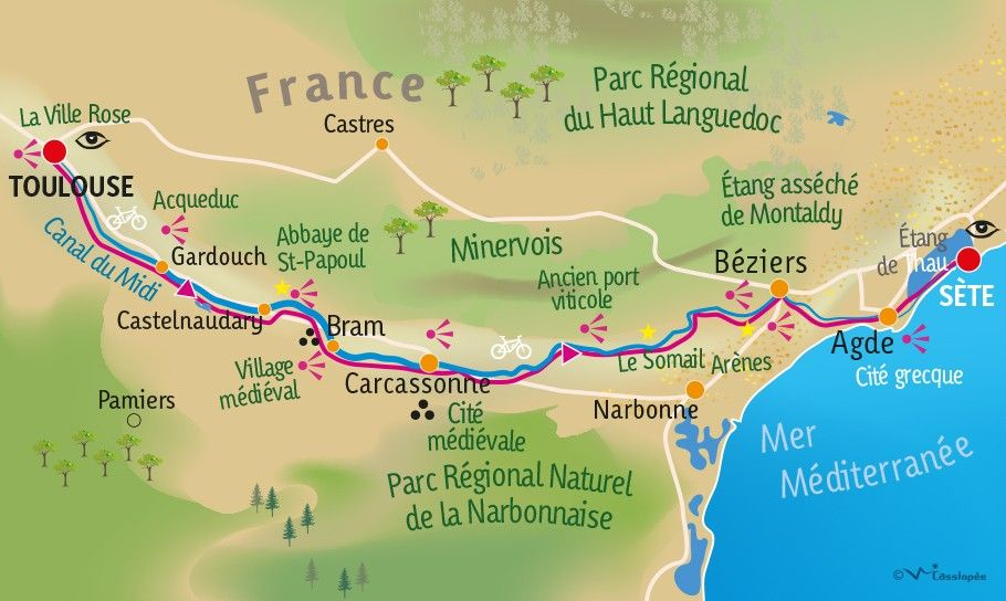 [KEY_MAP] - FRANCE - Le canal du midi à vélo