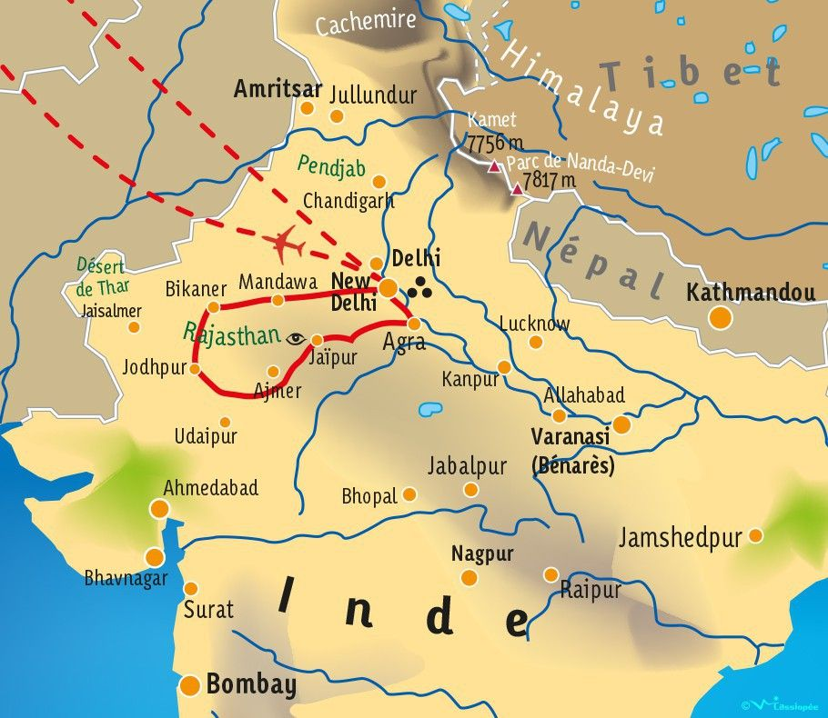 [KEY_MAP] - INDE/RAJASTHAN - Terre des Maharajas