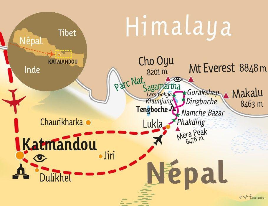 [KEY_MAP] - NEPAL - Lacs Gokyo, Cho La & Kala Pattar