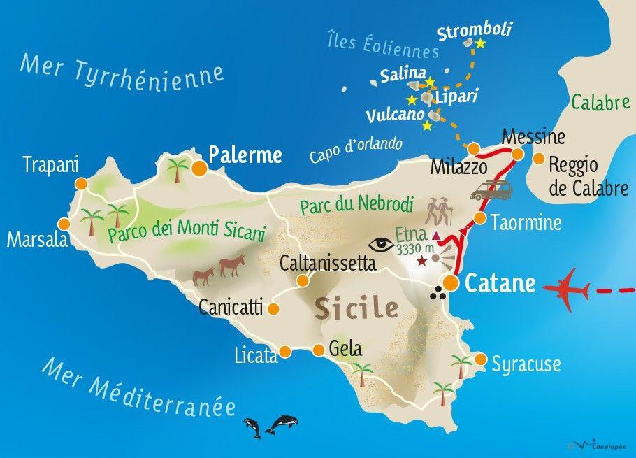 [KEY_MAP] - ITALIE - SICILE - Des îles éoliennes à l'Etna...