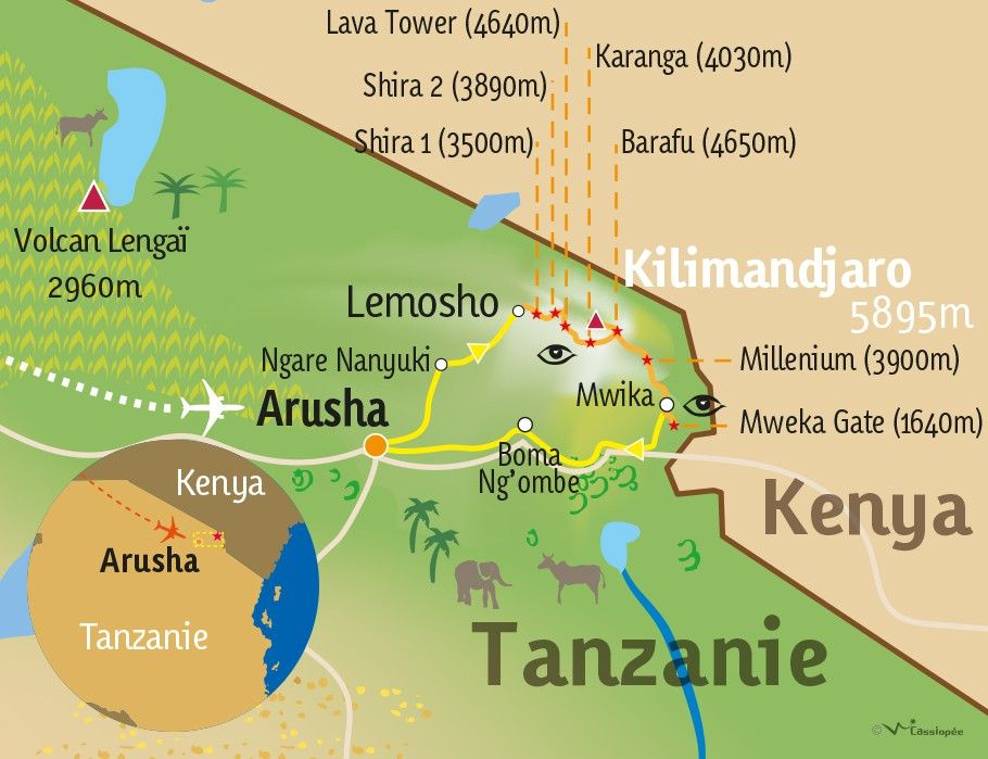 [KEY_MAP] - TANZANIE - Ascension du Kilimandjaro par la voie Lemosho-Shira